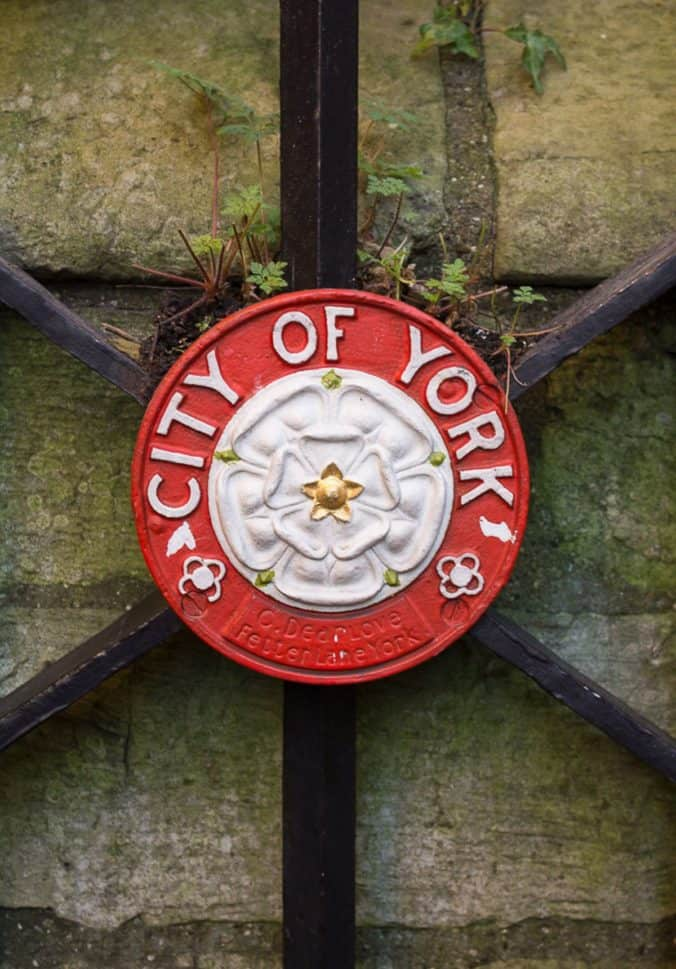 City of York emblem shown on one of the city gates.