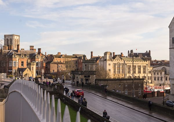 View from York city walls over Lendal Bridge.