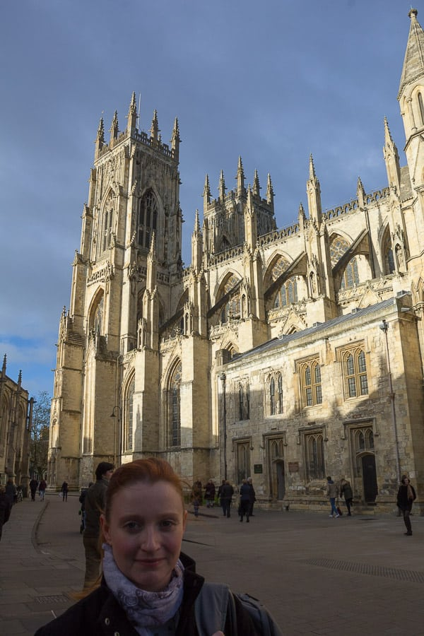 Lynne Lockier with York Minster in the background.