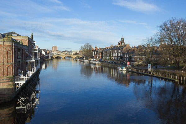 View west off Skeldergate Bridge looking west up the river Ouse.