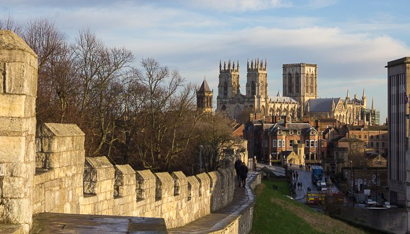 View of York Minster from our walk on Yorks walls.