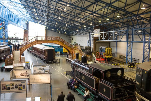 View of The Great Hall and railway exhibits. The National Railway Centre, York.