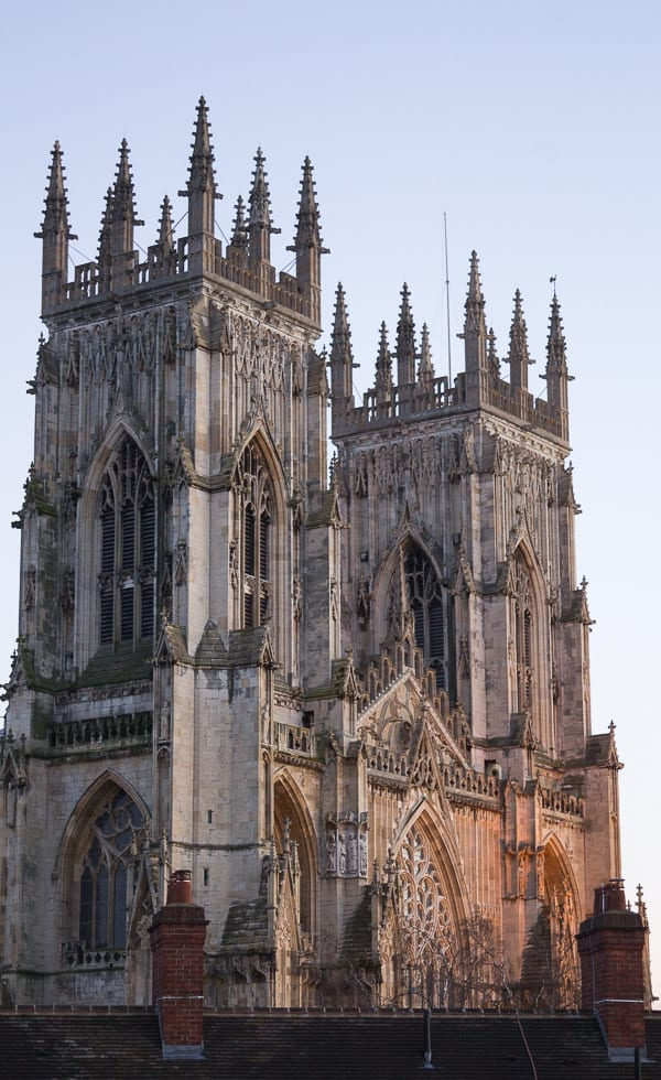 View of York Minster with the sunlight on the bottom half.