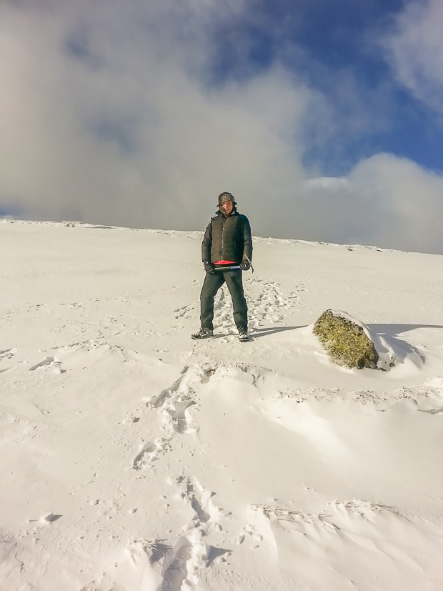 Liam with Ice Axe on the ascent to Driesh.
