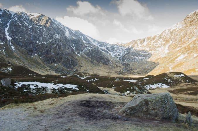 View of Corrie Fee. Driesh and Mayar can be summited after climbing.