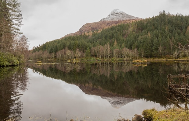 Pap of Glencoe reflection in lochan water
