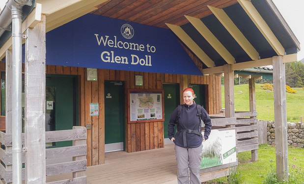 Lynne Lockier standing in the entrance way to Glen Doll Ranger Centre