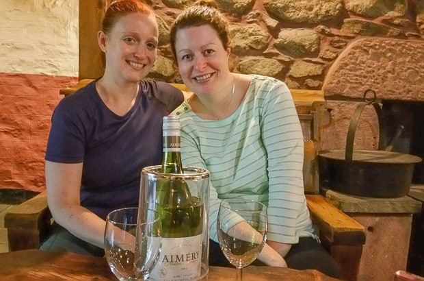 Lynne and Catherine with wine in Glen Clova Hotel.