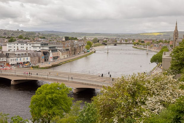 View North over River Ness and main road bridge into city centre from Inverness Castle.