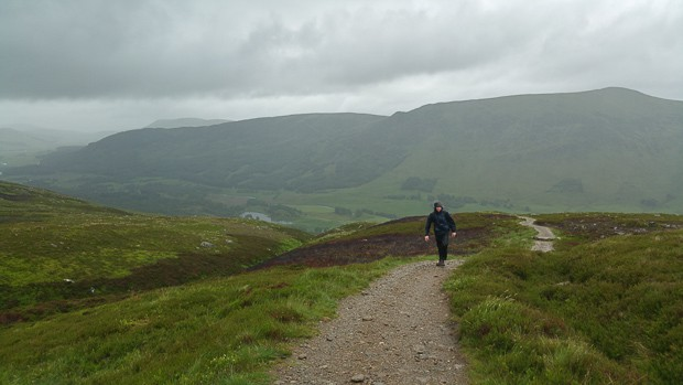 Looking back down the Loch Brandy path with Liam on the path.