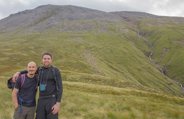 Neil and Liam with Ben Nevis summit in the clouds in the background.