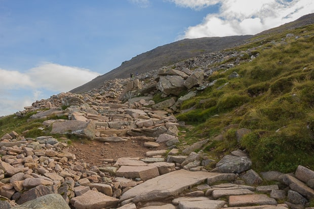 Looking up at rough part of Ben Nevis path.