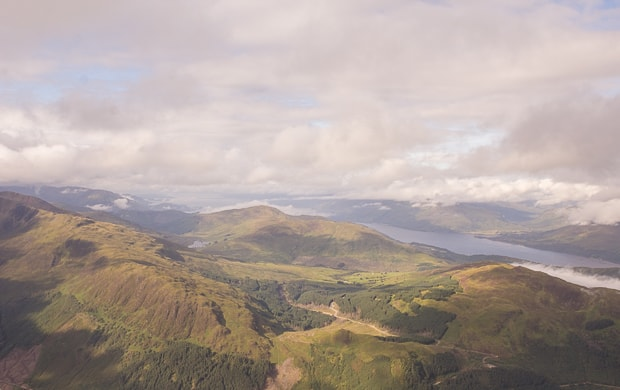 Looking over to Loch Linnhe and Ardnamurchan whilst climbing Ben Nevis.