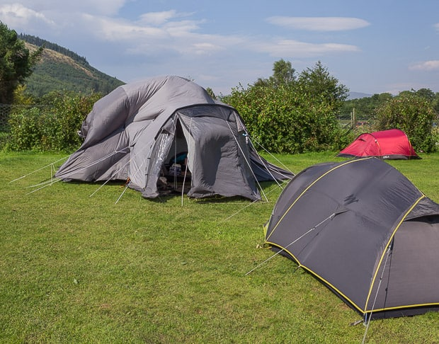 Tent blowing about in Glen Nevis Campsite.