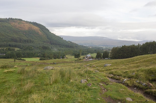 Looking back down the path towards The Ben Nevis Inn and Bunkhouse.