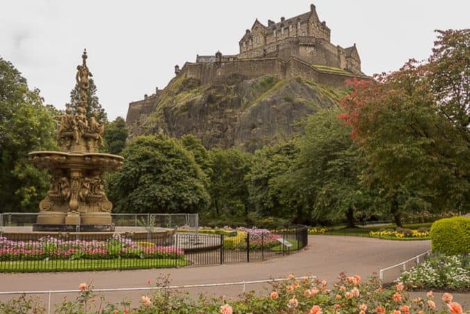 View of Edinburgh Castle from Princes Street Gardens.