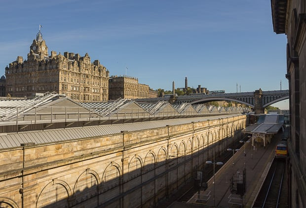 View over top of Edinburgh Waverlay Station of Balmoral Hotel.