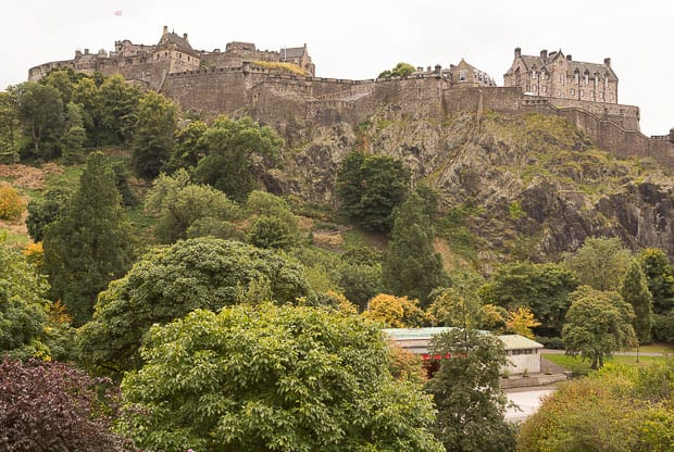 Edinburgh Castle pictured from Princes Street Gardens.