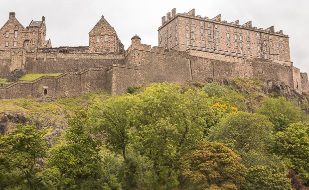 Close up view of Edinburgh Castle sitting on volcanic rock. View looking North.