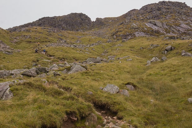Climbers on the final ascent to Ben Cruachan.