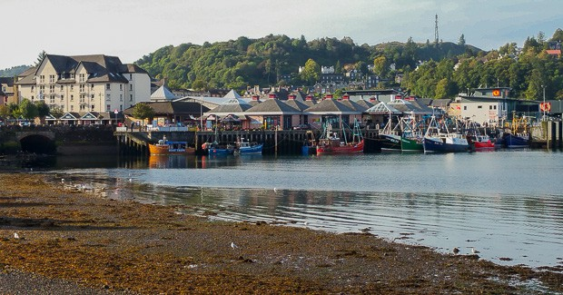 View over Oban harbour in the morning.