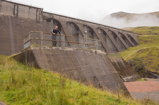 Mike standing on a viewing platform at the foot of the Cruachan Dam.