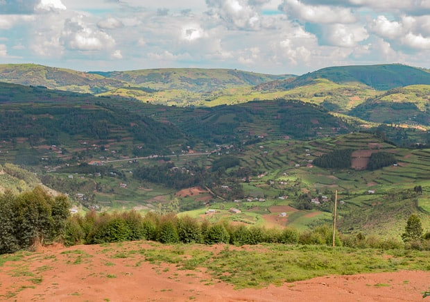 View of the road in the valley below Uganda.