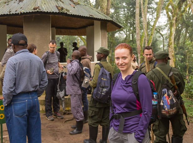 Lynne Lockier assembling with groups of other people at the start of Gorilla Trek in Bwindi Impenetrable National Park Uganda.