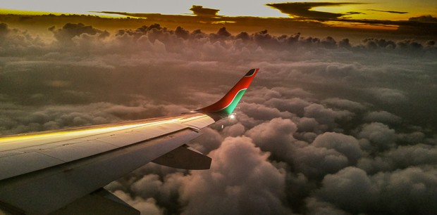 Looking out on the airplane wing of a Kenya Airways flight from Kampala to Nairobi.
