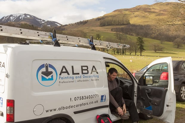 Liam Innes Alba Painting and Decorating van with Ben Vorlich in the background.
