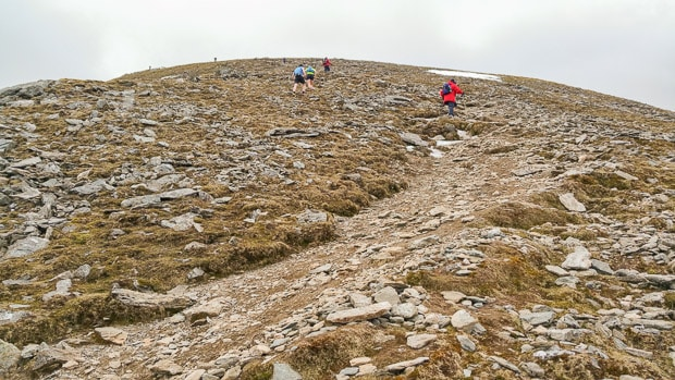 Hillwalkers on path ahead wearing shorts.