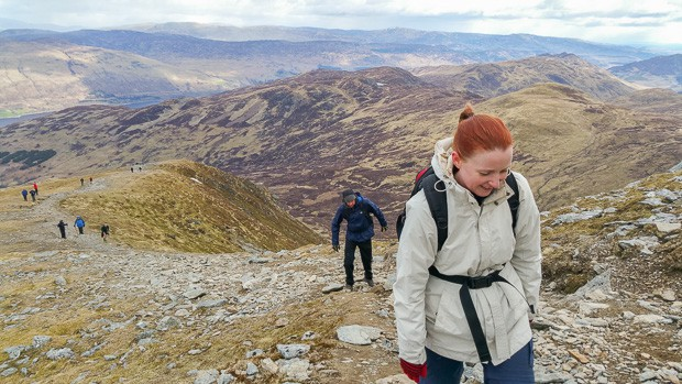 Looking back down Ben Vorlich path with Liam and Lynne climbing.