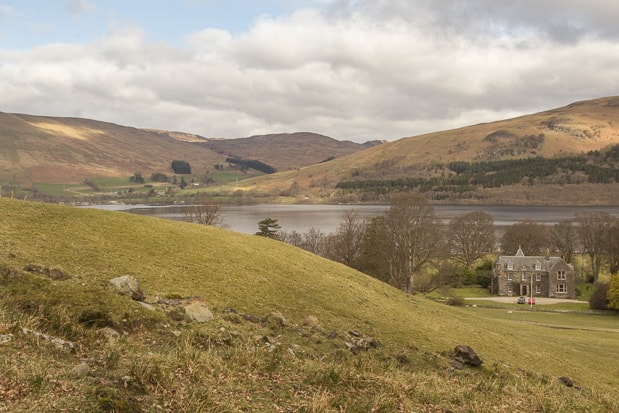 View of Ardvorlich house and Loch Earn looking back from path up to Ben Vorlich.