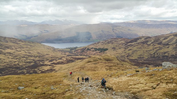 Looking back down the path. Showers of rain and hailstones sweeping over.