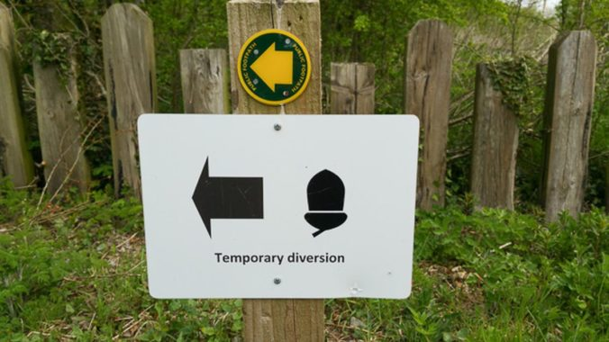 Carlisle to Bowness on Solway Hadrian's Wall walk diversion sign.