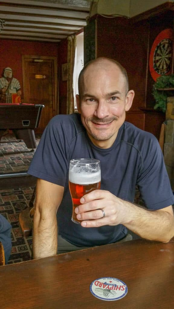 Neil Lockier enjoying a pint of beer in the Kings Arms in Bowness on Solway.