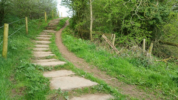 Carlisle to Bowness on Solway steps on the path leading upwards.