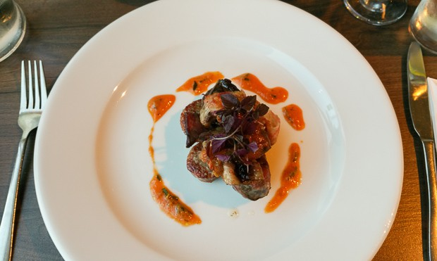 Pigeon Breast Wrapped in Pancetta at Waterfront Fish House Oban.