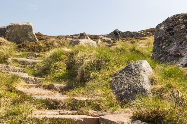 close up of the well made repaired path on route to Carn an t-Sagairt Mor.