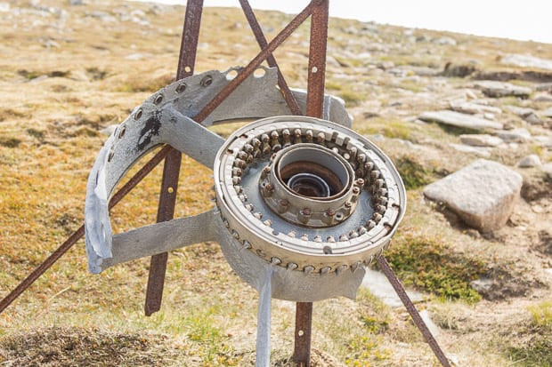 Canberra jet crashed wreckage on the Munro summit of Carn an t-Sagairt Mor.