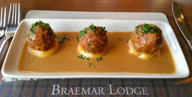 The Lodge Braemar, Haggis balls deep fried with mash and whisky sauce.
