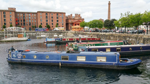 Views of Liverpool Albert Docks with narrow boats in.