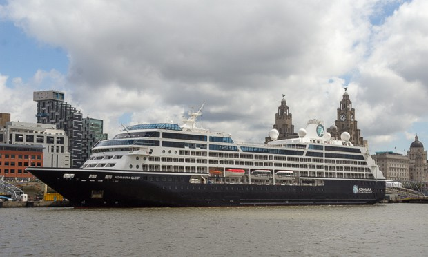 A luxury liner berthed in Liverpool.