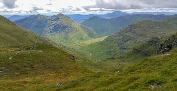 View descending from the summit of Cruach Ardrain.
