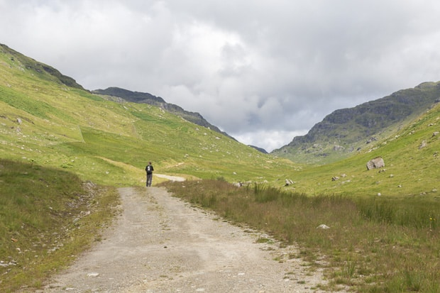 View up the drovers path up the glen at as we've just walked past the farm at Inverlocharig.
