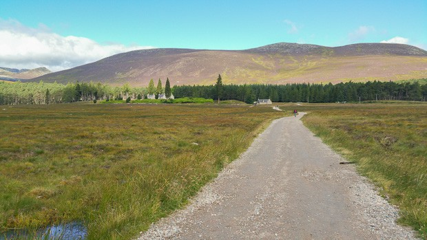 View from Spittal of Glenmuik visitor centre to Glas-allt-Shiel lodge.