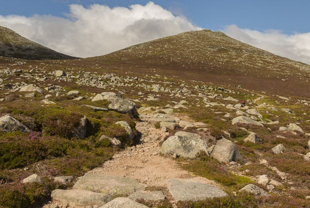 Leaving the landrover track to join the rough hill path climbing Lochnagar.