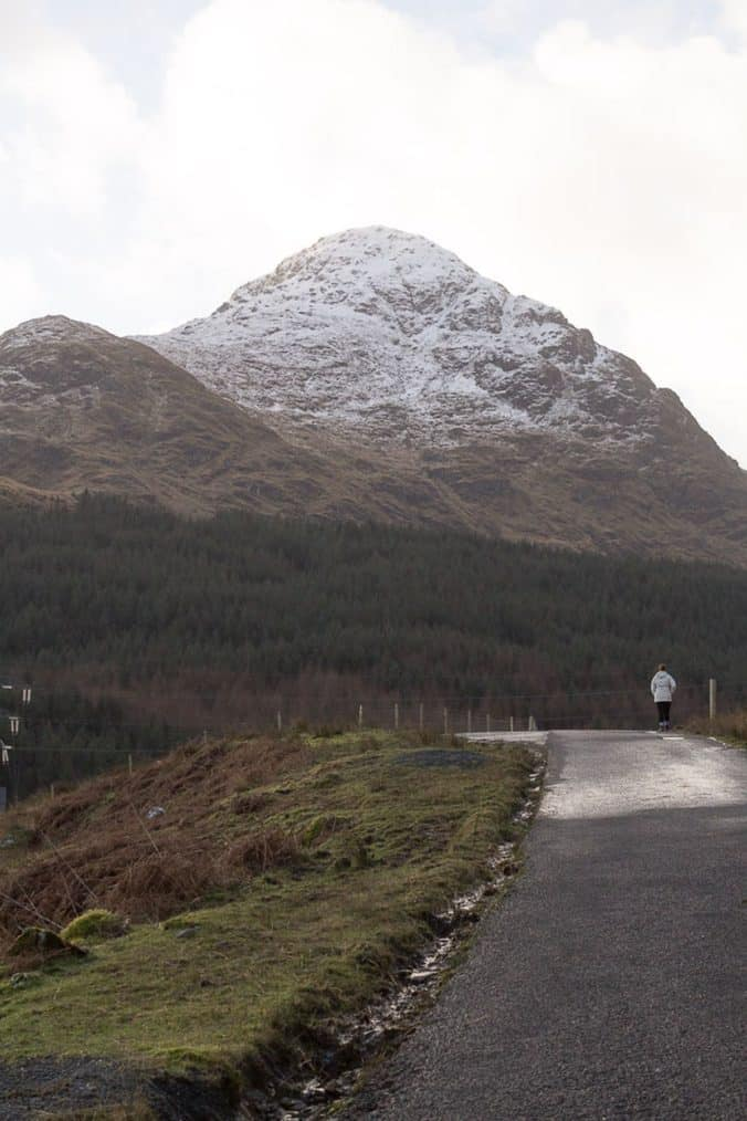 View of A'Chrios. Lynne Lockier on the path from Inveruglas to Loch Sloy Dam.