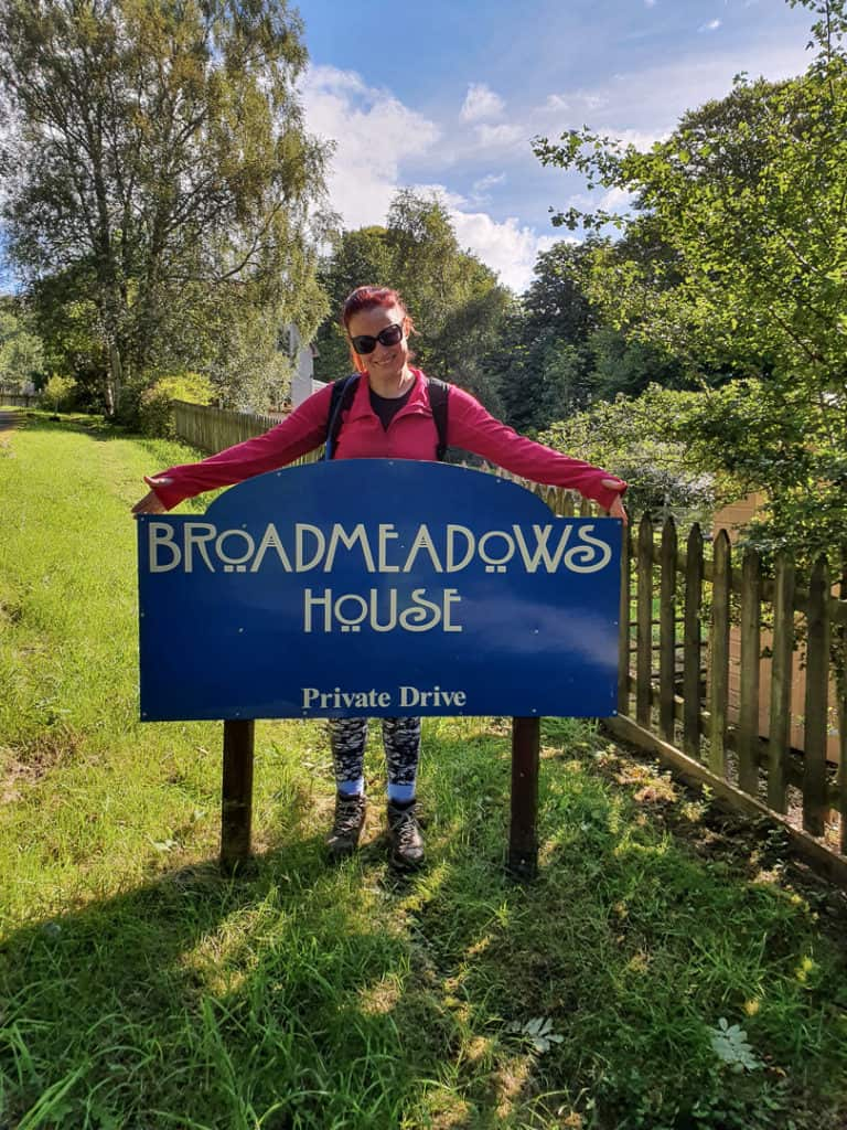 Broadmeadows House sign at bottom of driveway.